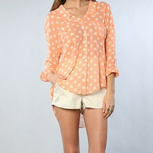 Free People Easy Rider Button Down in Coral